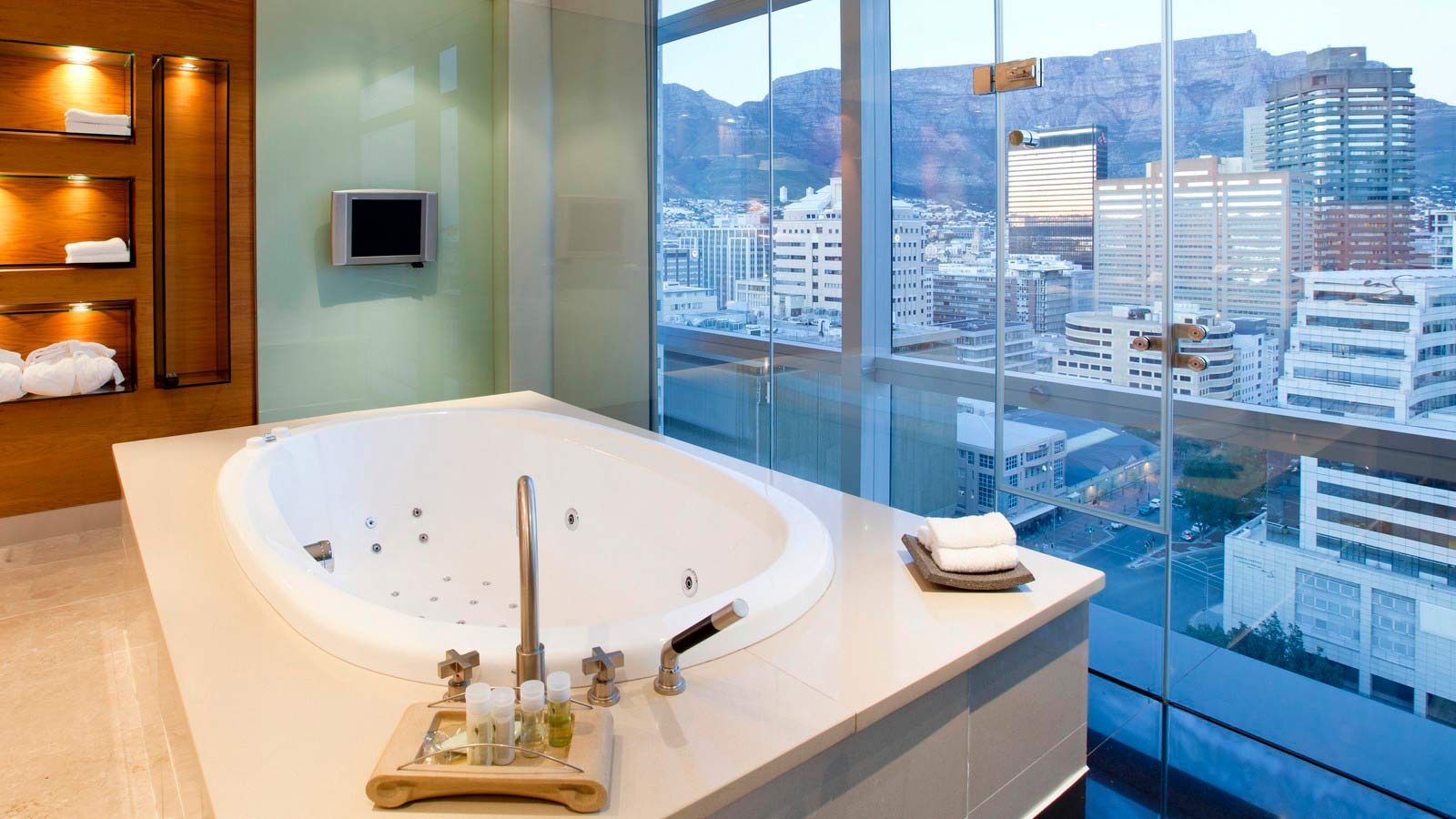 Westin Cape Town Presidential Suite Bath with city view of Cape Town and Table Mountain