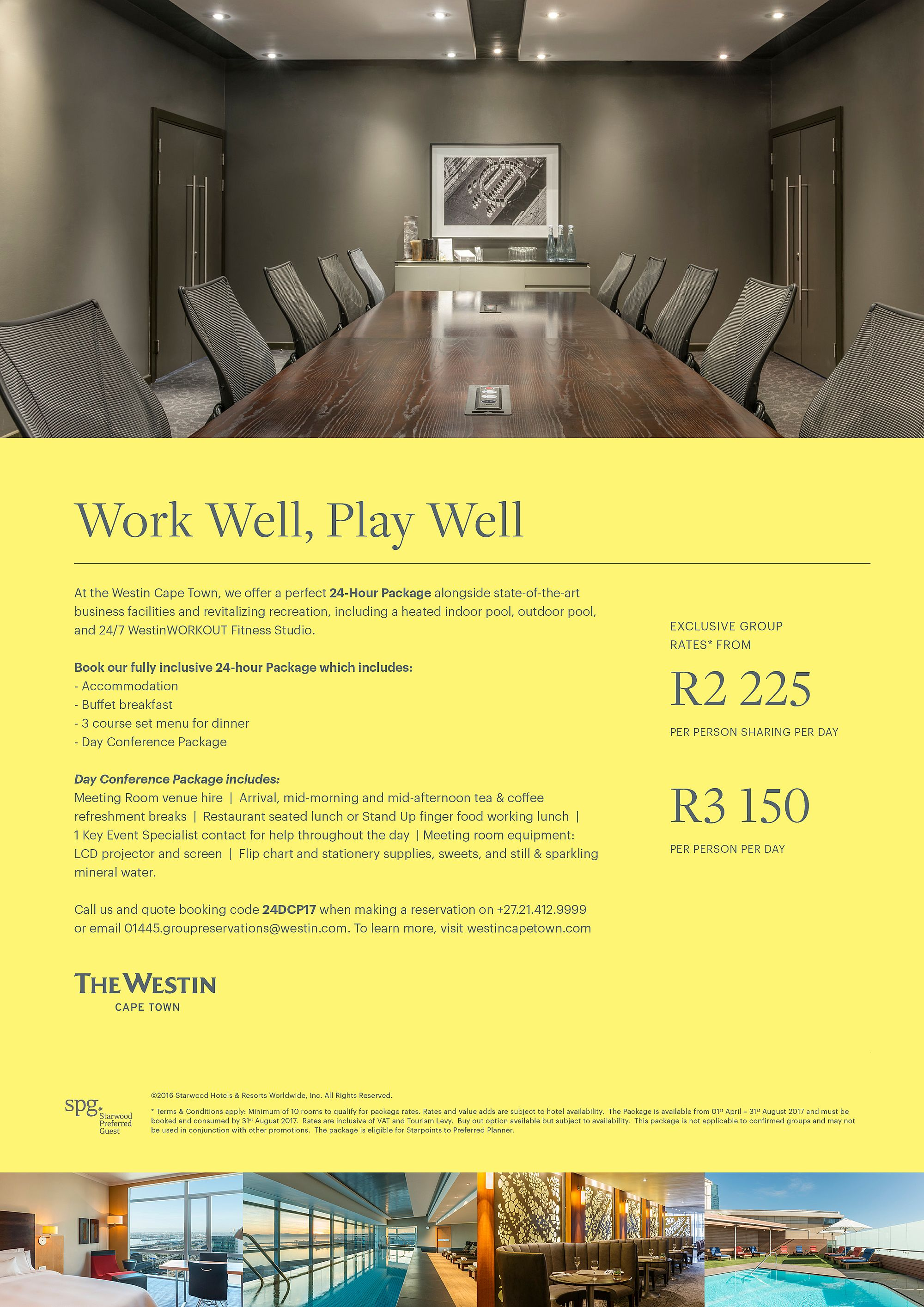 Flyer advertising 24-Hour Meetings and Events at The Westin Cape Town