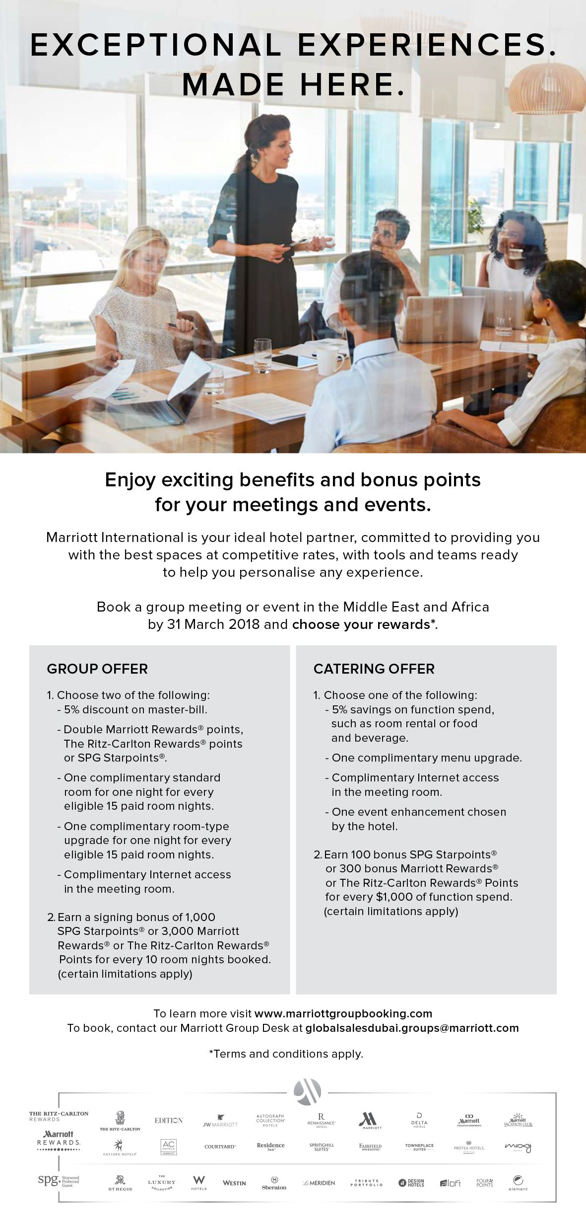 Westin Cape Town Meetings and Events Rewards