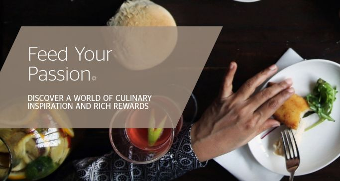 Banner above a hand reaching for food on a plate, advertising SPG Loyalty Benefits such as 15% off food bill