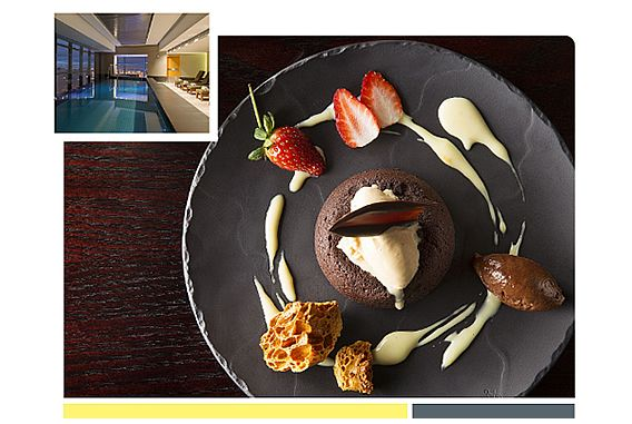 Chocolate Pudding dessert with insert picture of Heavenly Spa by Westin Cape Town