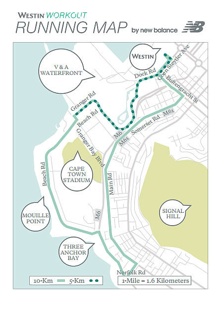 Westin Cape Town Guided Running Routes Map