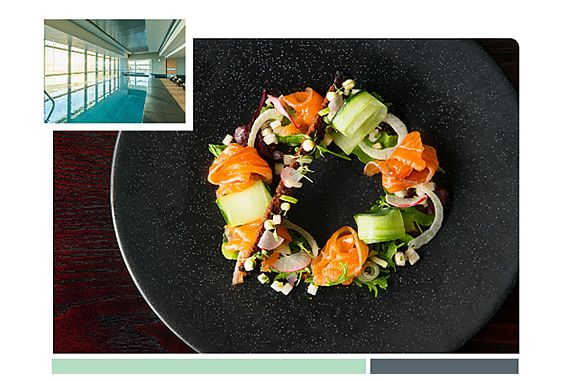 Plate of cured salmon salad with insert image of Heavenly Spa by Westin Cape Town