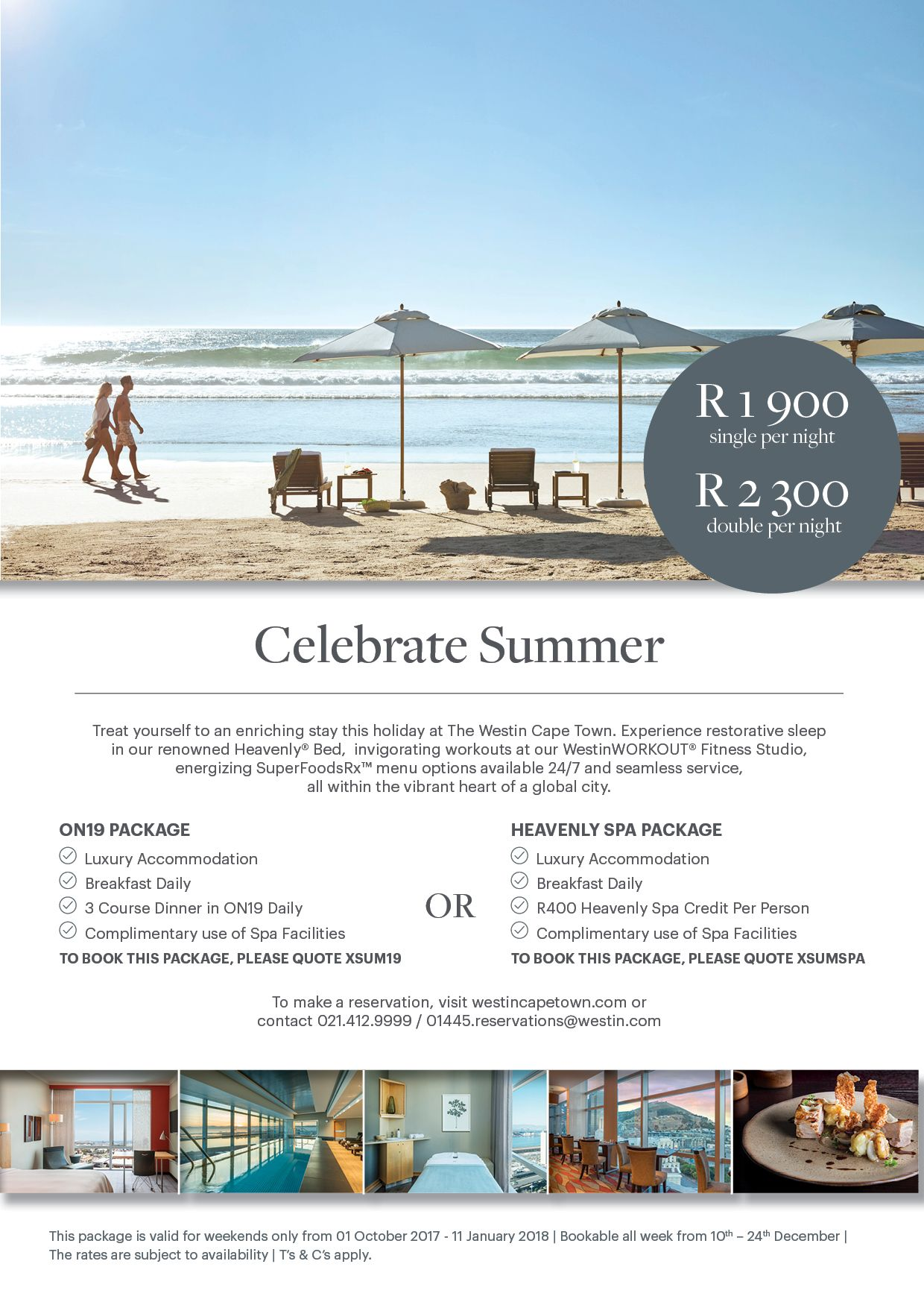Westin Cape Town Offers: Celebrate Summer This Weekend