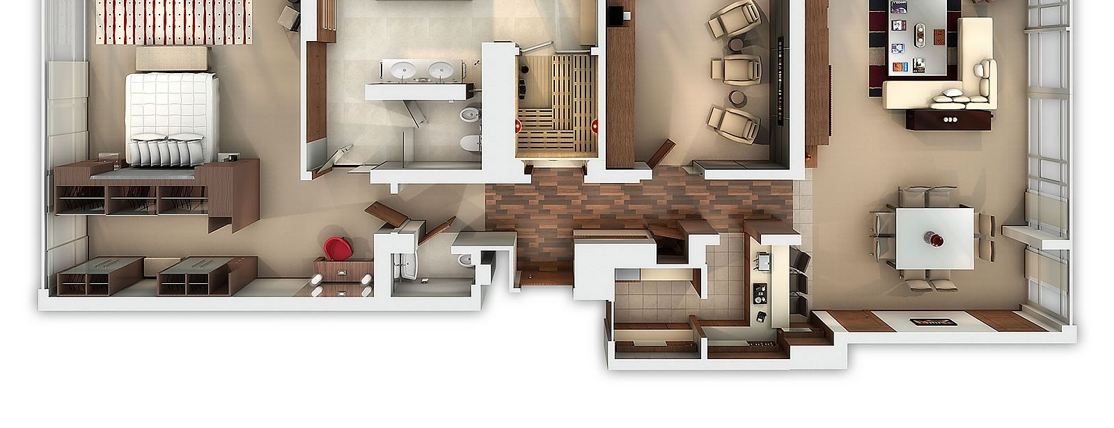 Westin Cape Town Presidential Suite 3D Rendering Aerial View